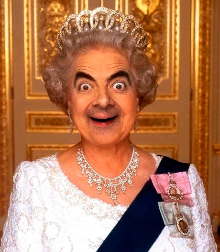 Первоклассные фотожабы на Мистера Бина Королева Елизавета II Бин