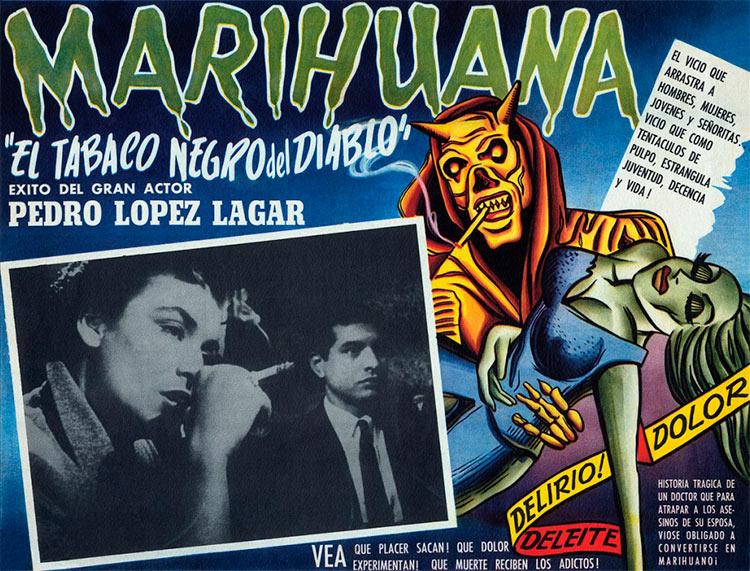 13 антиконопляных плакатов из эпохи косякового безумия Плакат к аргентинскому фильму об уважаемом хирурге, чья жена умирает из-за зависимости от марихуаны. Трагическая история
