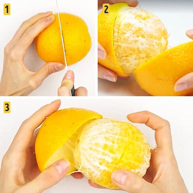 Быстрые и лёгкие способы почистить фрукты и ягоды апельсин