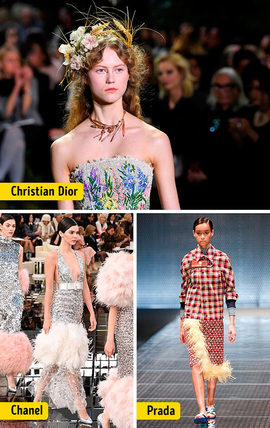 Chanel Louis Vuitton Céline Dolce&Gabanna Prada Christian Dior ткани мода decorative elements
