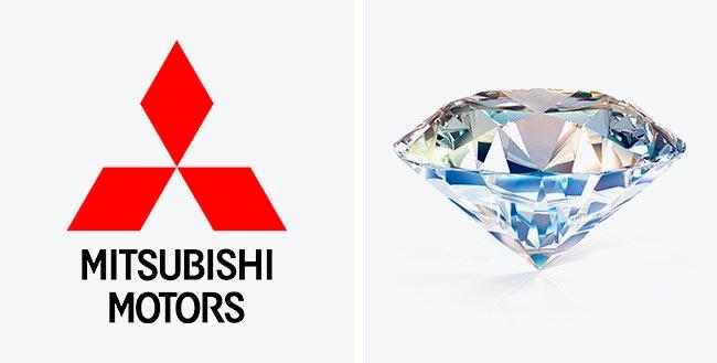 Символы, спрятанные в известных логотипах Mitsubishi