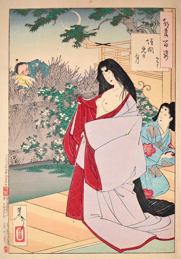 «Сто видов Луны» – гравюры укиё-э Цукиока Ёситоси Проблеск Луны: Кахойо
