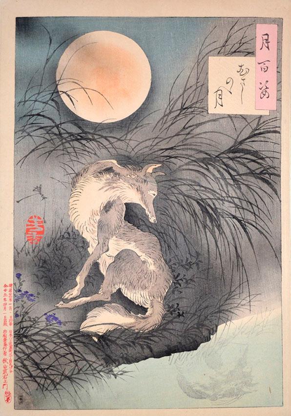 «Сто видов Луны» – гравюры укиё-э Цукиока Ёситоси Луна на равнине Мусаси
