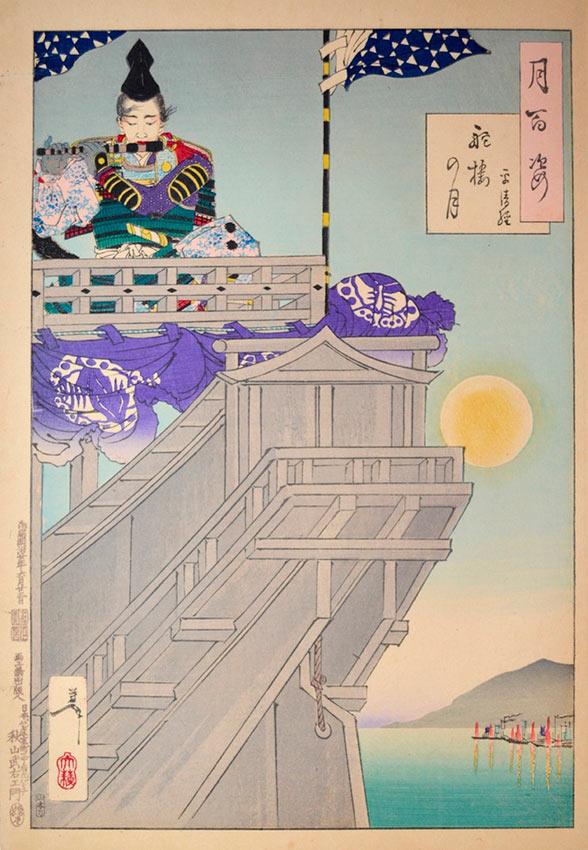«Сто видов Луны» – гравюры укиё-э Цукиока Ёситоси Луна и лодка