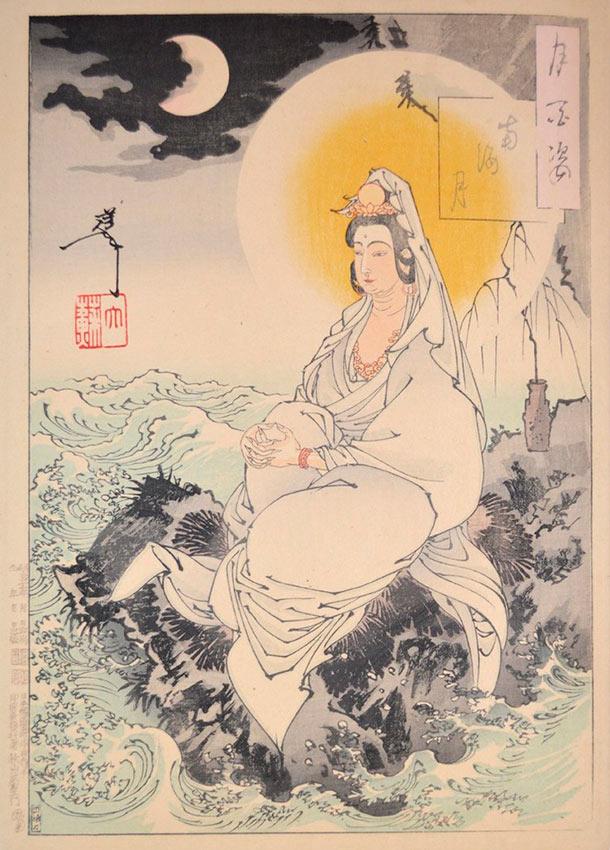 «Сто видов Луны» – гравюры укиё-э Цукиока Ёситоси Луна Южного моря