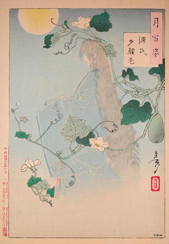 «Сто видов Луны» – гравюры укиё-э Цукиока Ёситоси Глава Югао из «Повести о Гэндзи»