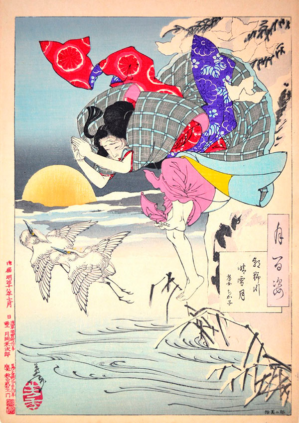 «Сто видов Луны» – гравюры укиё-э Цукиока Ёситоси Луна чистого снега на реке Асано: Чикако, сыновняя дочь