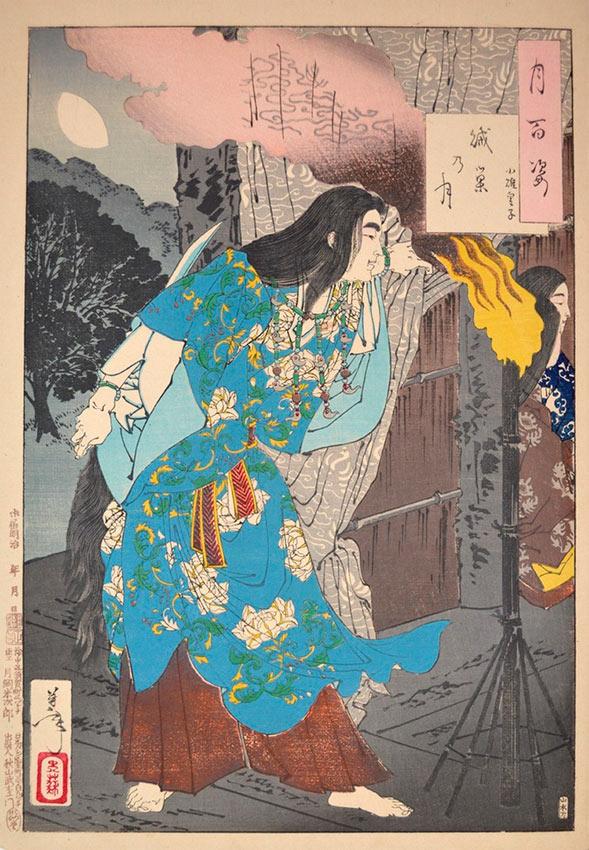 «Сто видов Луны» – гравюры укиё-э Цукиока Ёситоси Луна логова врага: маленький принц Усу