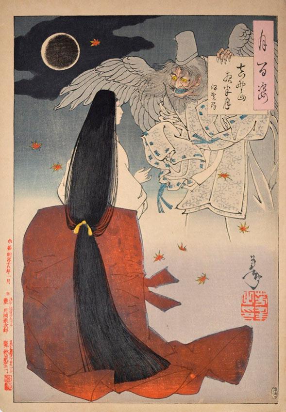 «Сто видов Луны» – гравюры укиё-э Цукиока Ёситоси Полночная Луна горы Есино: Ига-но Цубоне