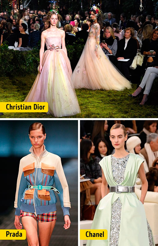 Chanel Louis Vuitton Céline Dolce&Gabanna Prada Christian Dior ткани мода waist line