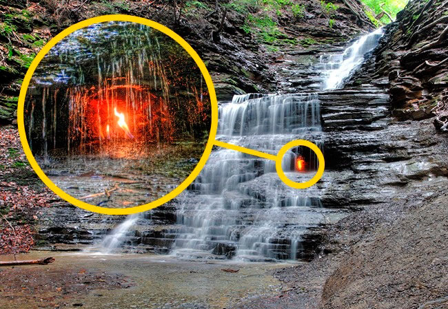 аномальные места на нашей планете Водопад вечного огня, США