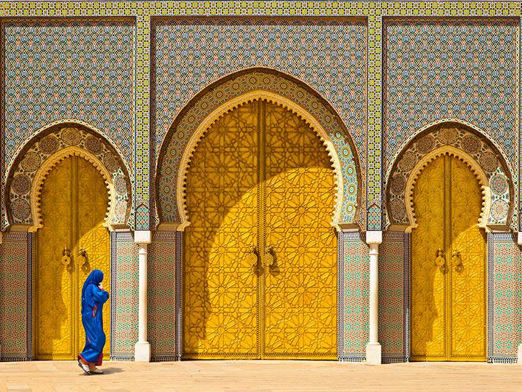 прекрасное Марокко Золотые ворота Королевского дворца в городе Фес beautiful Morocco
