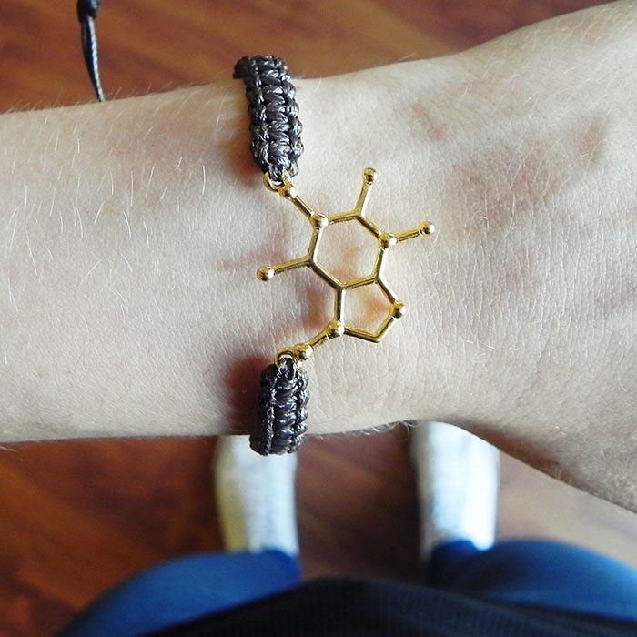 Подарки для любителей кофе молекулярный кофейный браслет с молекулой кофеина