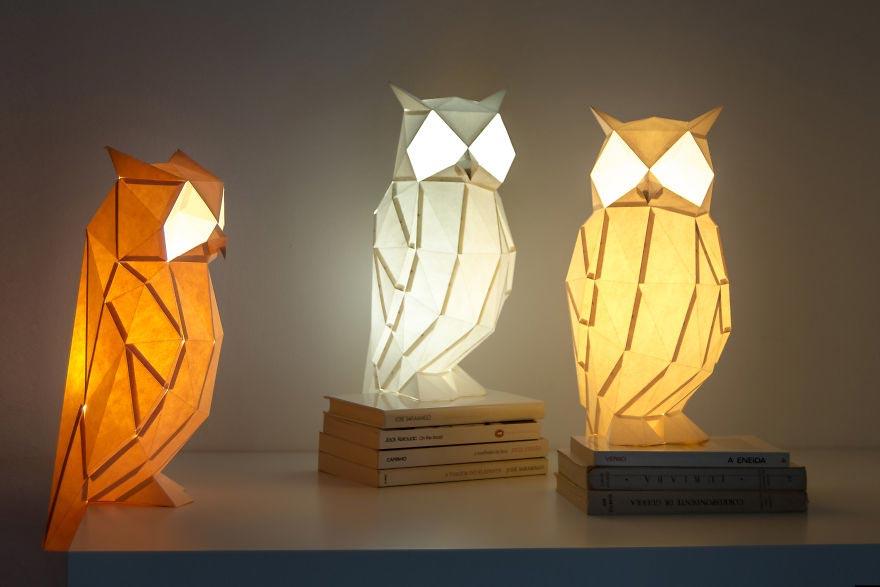 Лампы из бумаги в стиле оригами Аврора, ночная сова с огромными глазами
