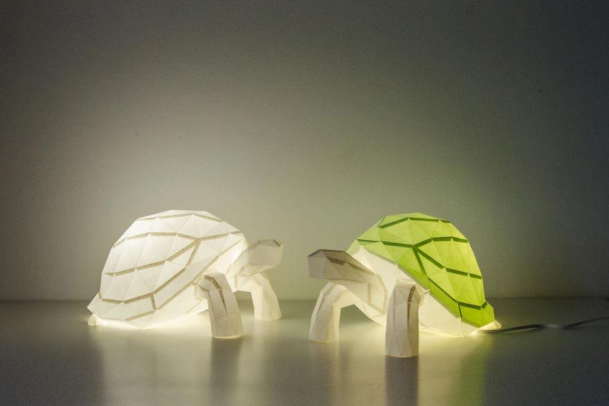 Лампы из бумаги в стиле оригами Черепашки Фрида и Фред