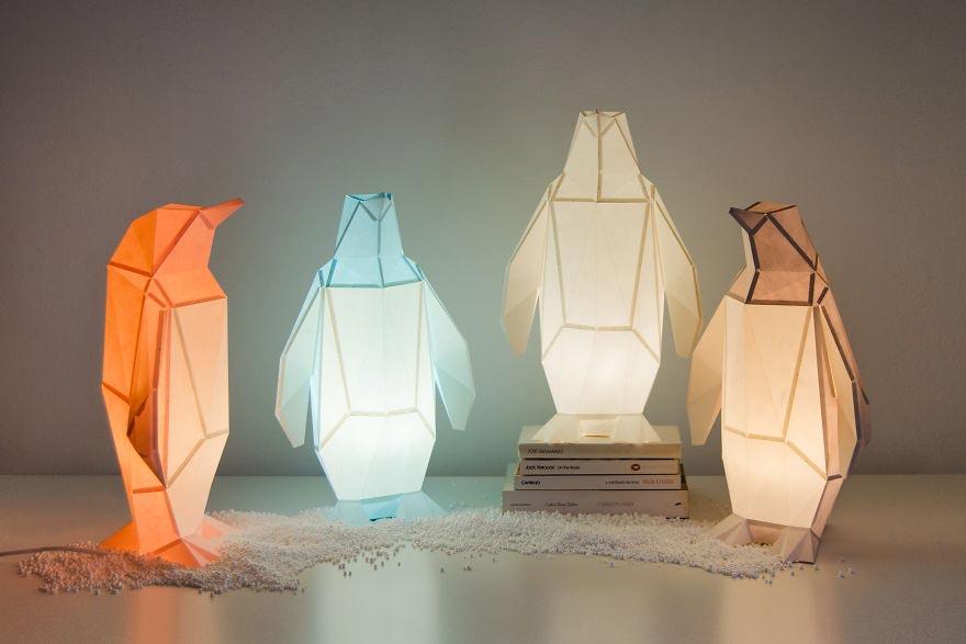 Лампы из бумаги в стиле оригами Небольшая колония пингвинов