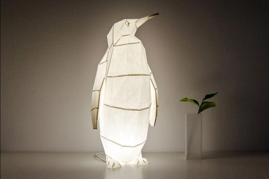Лампы из бумаги в стиле оригами Высокий императорский пингвин