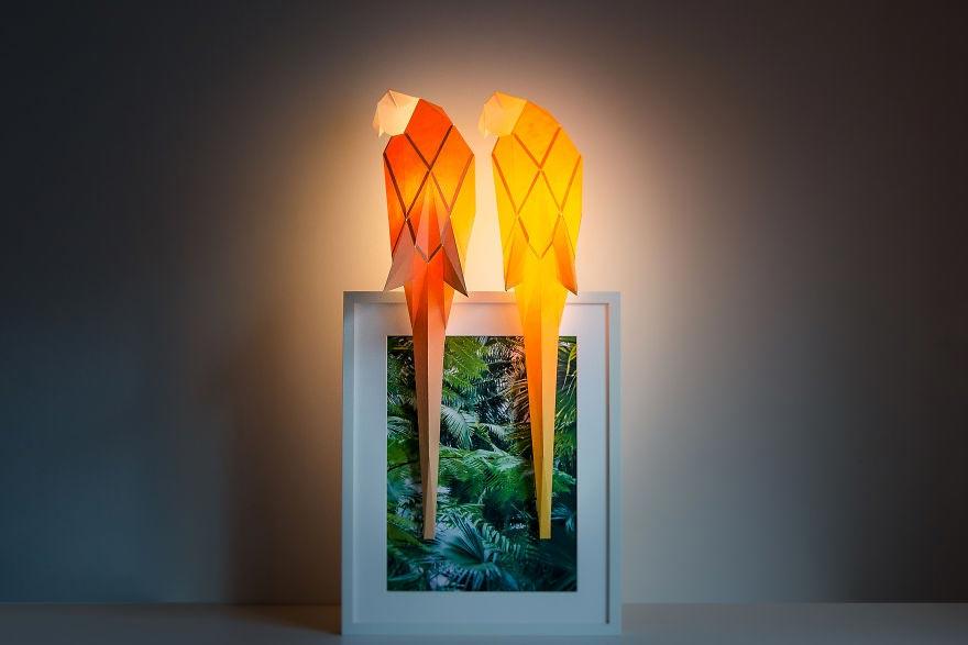 Лампы из бумаги в стиле оригами Попугай Альберт