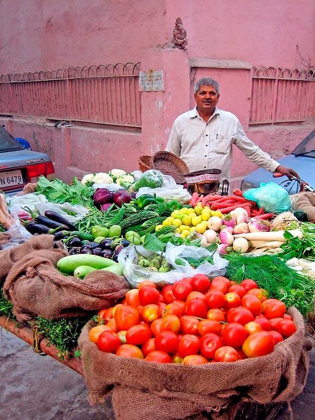 Продавцы уличной еды из разных уголков планеты торговец овощами в Дели (Индия)