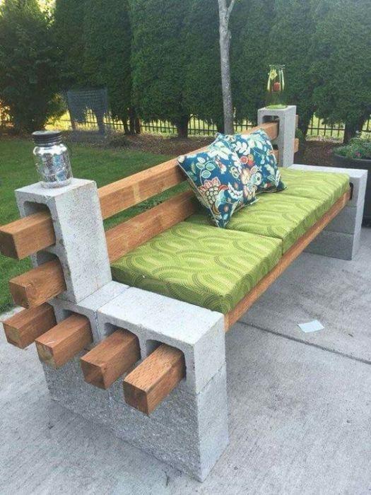 20 примеров самодельной садовой мебели скамейка из дерева и бетона
