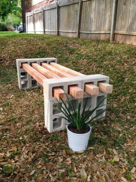 20 примеров самодельной садовой мебели Простая садовая скамейка