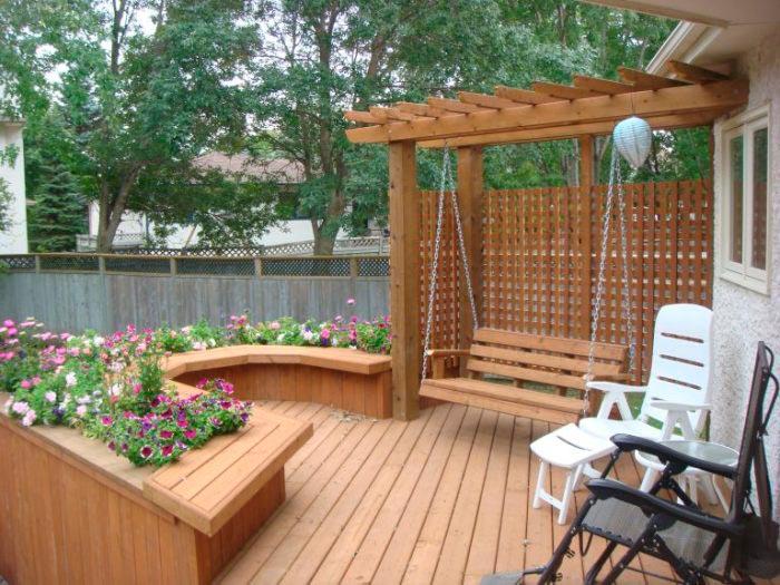 20 примеров самодельной садовой мебели Деревянные качели