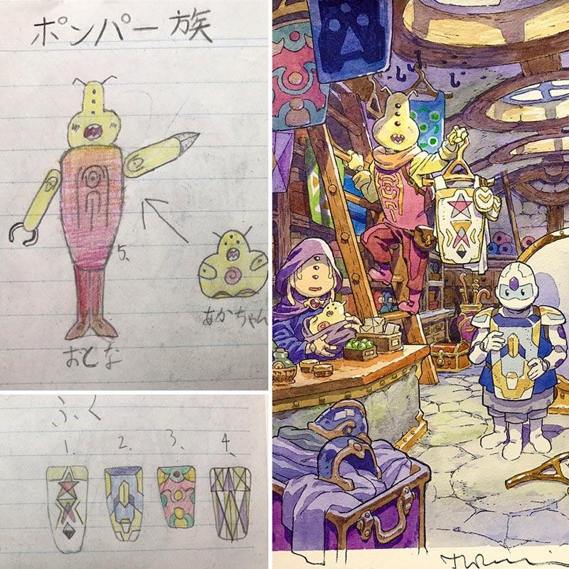 Детские рисунки художник превращает в аниме рисунки