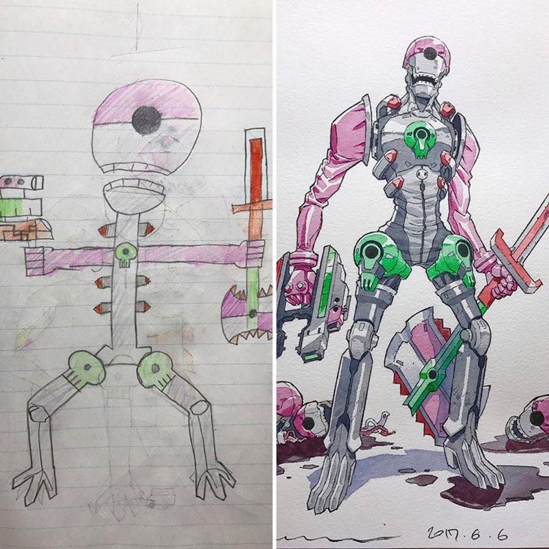 Аниме-художник превращает детские рисунки в крутых персонажей