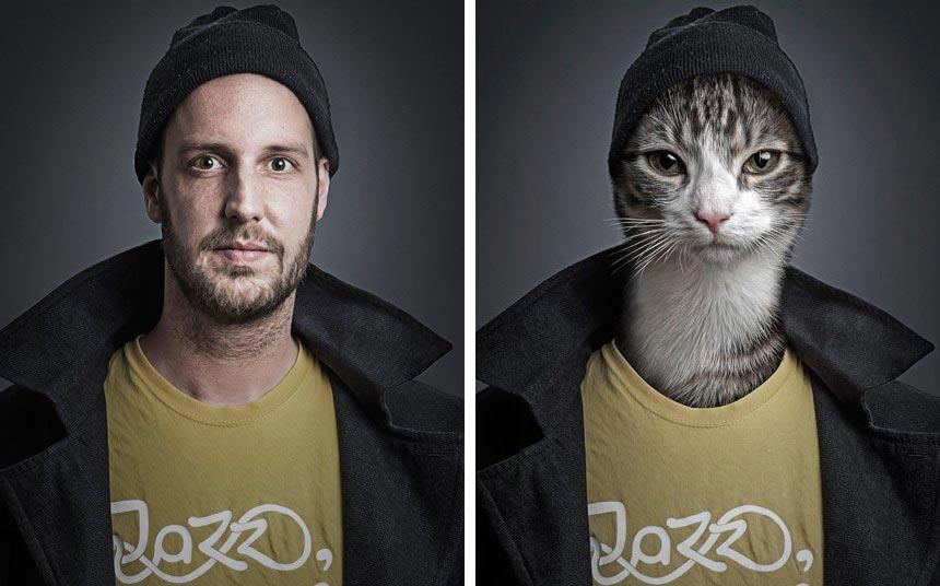 Себастьян Маньяни Sebastian Magnani: кошки и их хозяева забавная фотосерия UnderCats