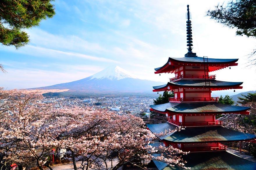 Япония: самые красивые места Japan Пагода Курейто и гора Фудзияма