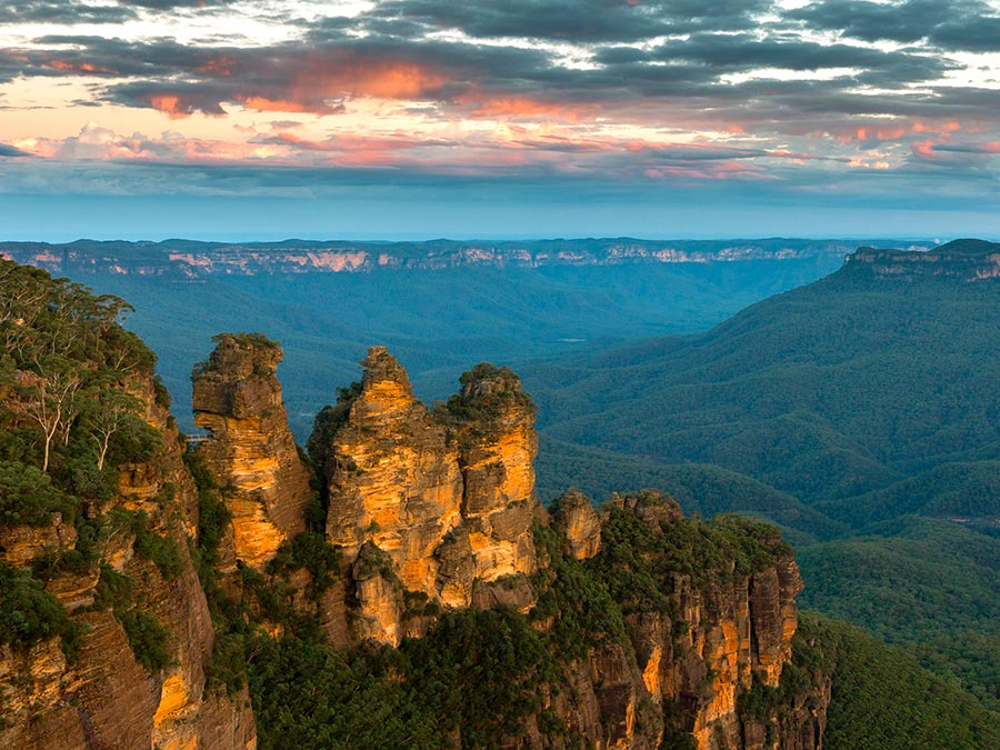 Восхитительная красота Австралии Скала Три Сестры, Голубые горы, Новый Южный Уэльс