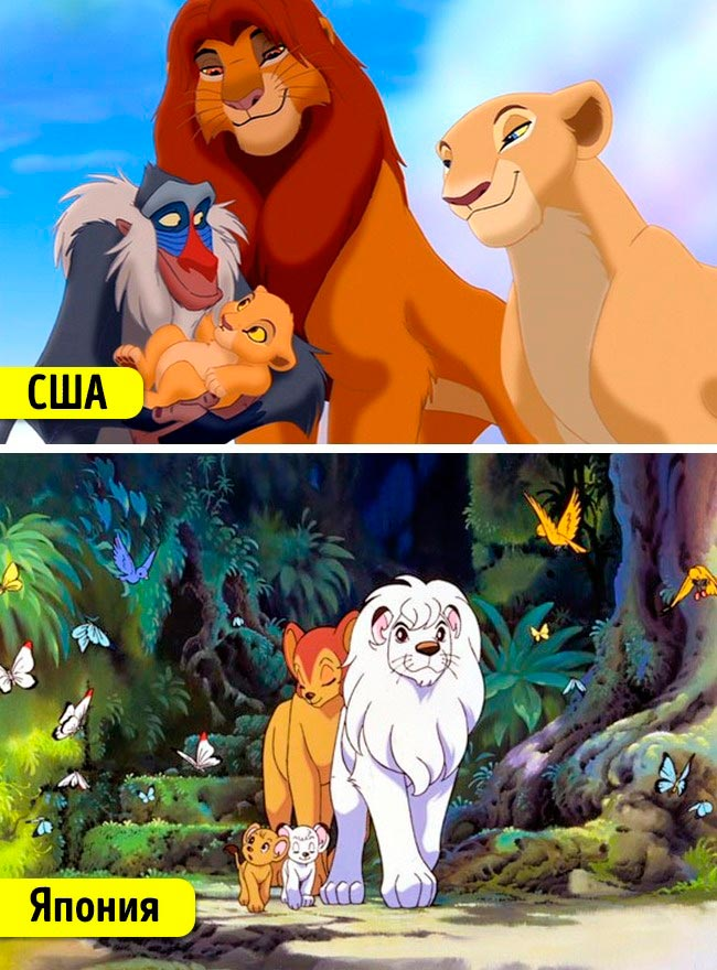 Известные мультфильмы, которые имеют аналоги в других странах Король Лев Император джунглей