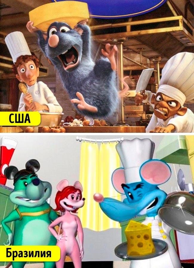 Известные мультфильмы, которые имеют аналоги в других странах Рататуй Рататуинг