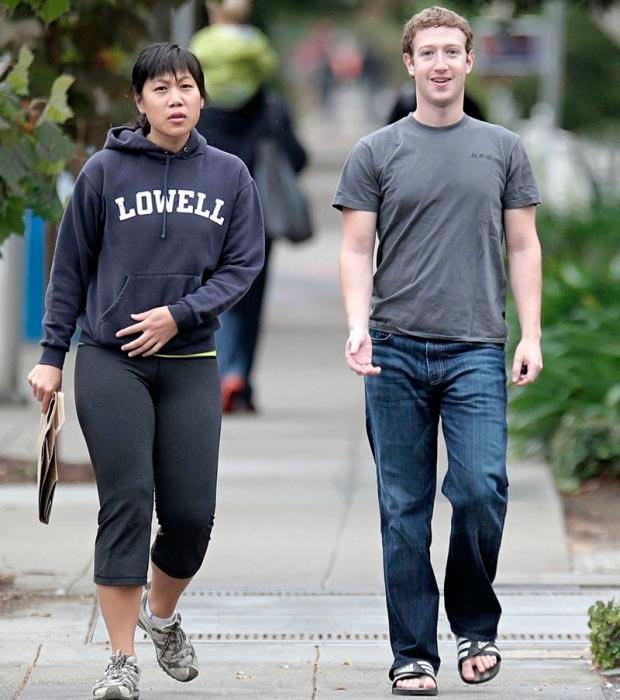 Звезды в обычной жизни Марк Цукерберг и Присцилла Чан