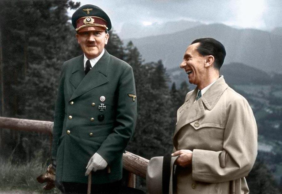 Культовые исторические фото - теперь в цвете Адольф Гитлер и Йозеф Геббельс