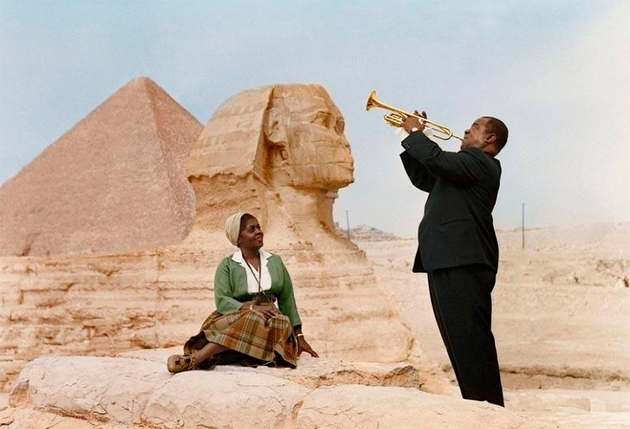 Культовые исторические фото - теперь в цвете Луис Армстронг и Люсиль