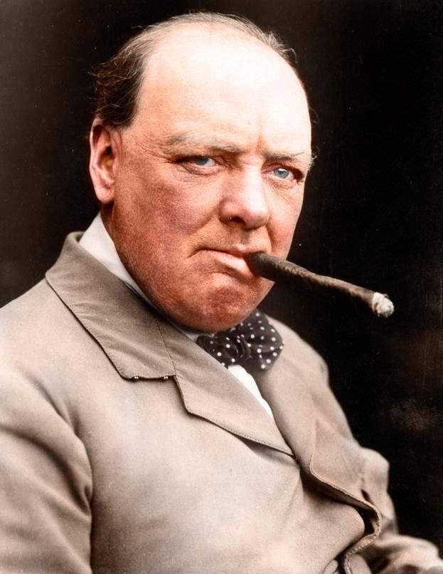 Культовые исторические фото - теперь в цвете Уинстон Черчилль