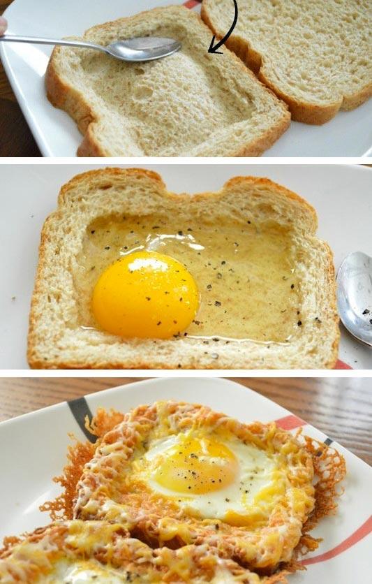 15 супер-идей для вашего завтрака Тост с яйцом
