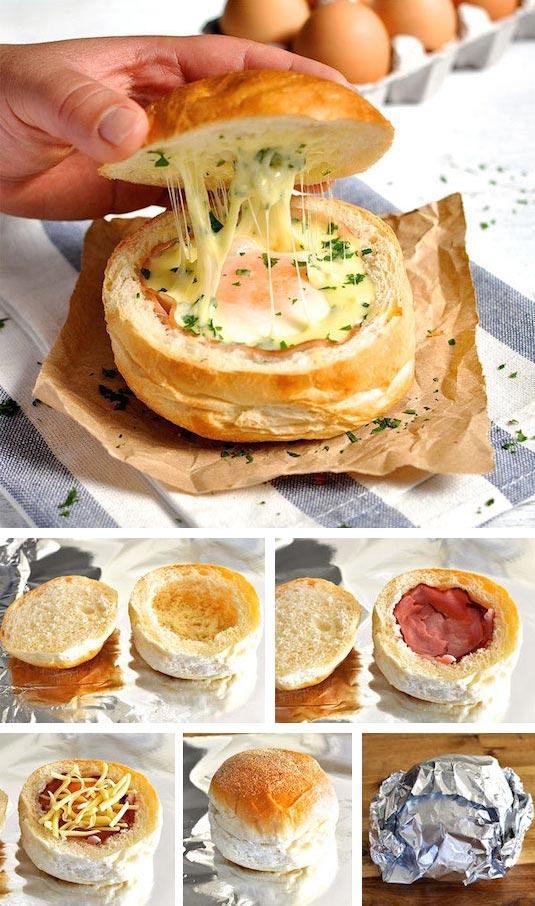 15 супер-идей для вашего завтрака Яичница в булочке