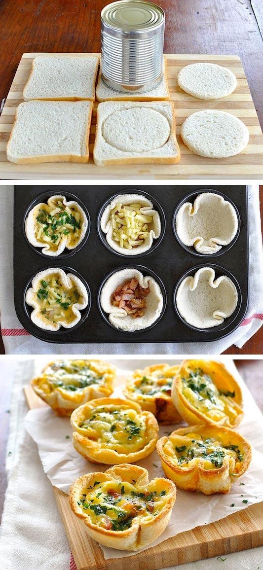 15 супер-идей для вашего завтрака Хлебные чашечки