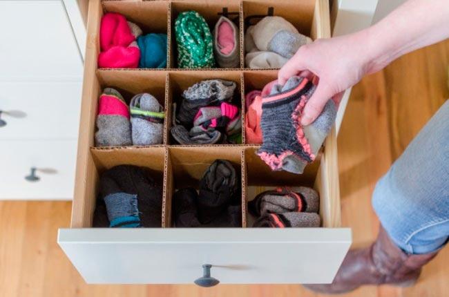Лайфхаки из картонной коробки, которые сделают дом комфортнее Разграничители для вещей