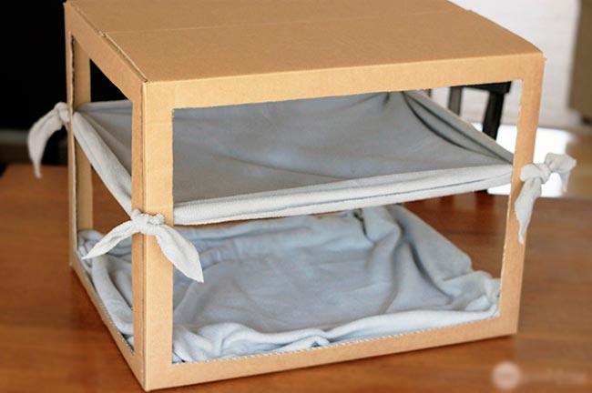 Лайфхаки из картонной коробки, которые сделают дом комфортнее Гамак для кота
