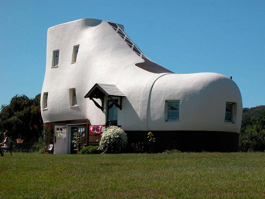Самые оригинальные дома в мире Mahlon N. Hainesa Дом-ботинок Hellam Пенсильвания США