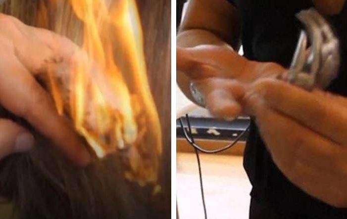 Альберто Ольмедо Парикмахер использует самурайские мечи, огонь и когти
