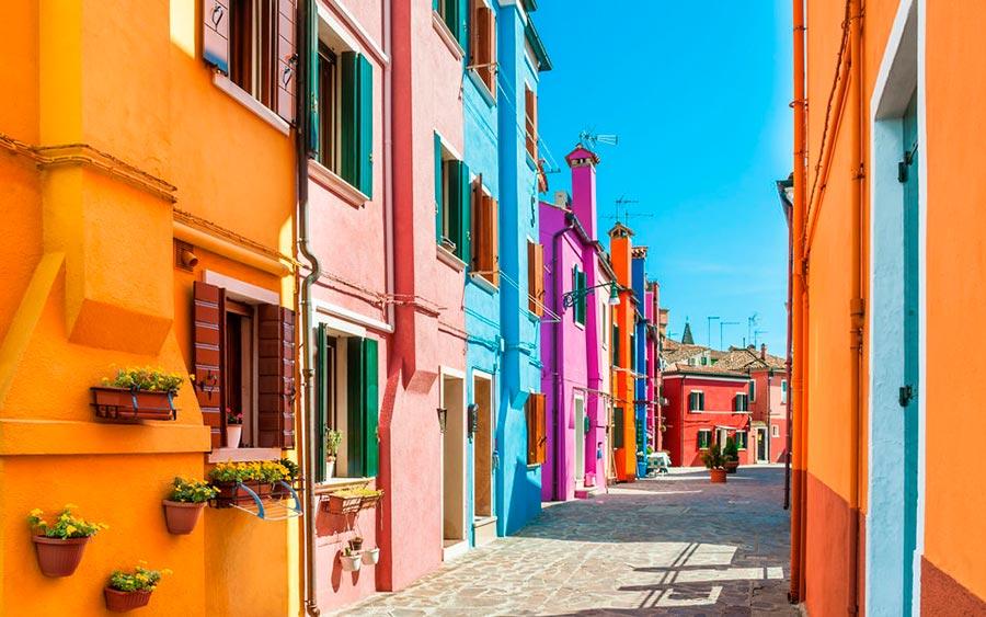 цветные города планеты Бурано Венеция Италия