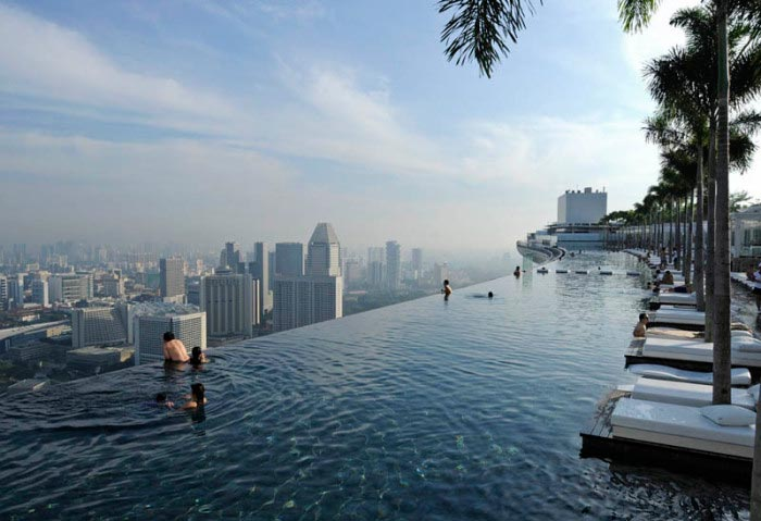 Крутые бассейны в отелях Marina Bay Sands Сингапур