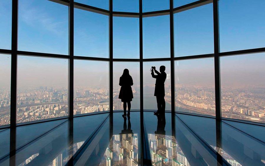 Самые высокие места планеты стеклянная смотровая площадка Seoul Sky Lotte World Tower Сеул Южная Корея Seul South Korea