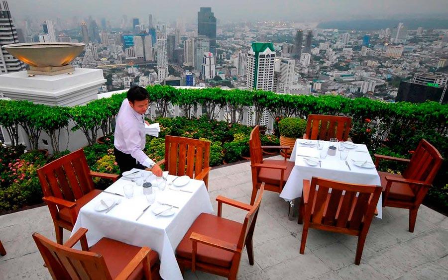 Самые высокие места планеты ресторан Scirocco State Tower Бангкок Таиланд Bangkok Thailand