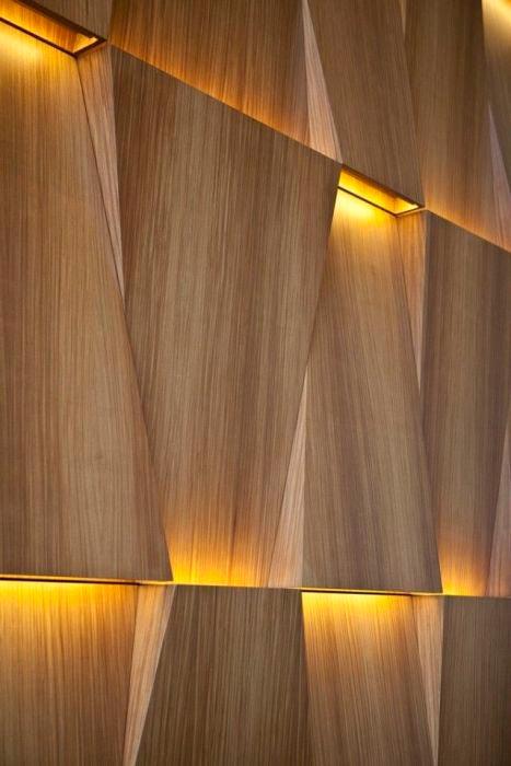 Идеи отделки помещений деревом Креативное освещение
