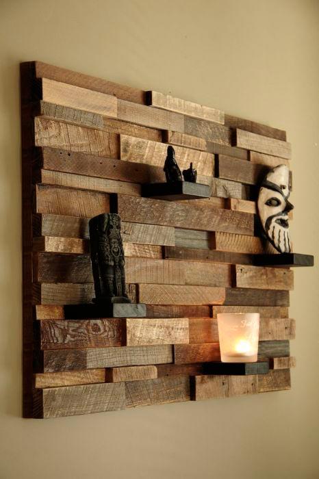 Идеи отделки помещений деревом Объемная картина из брусков и деревянных планок